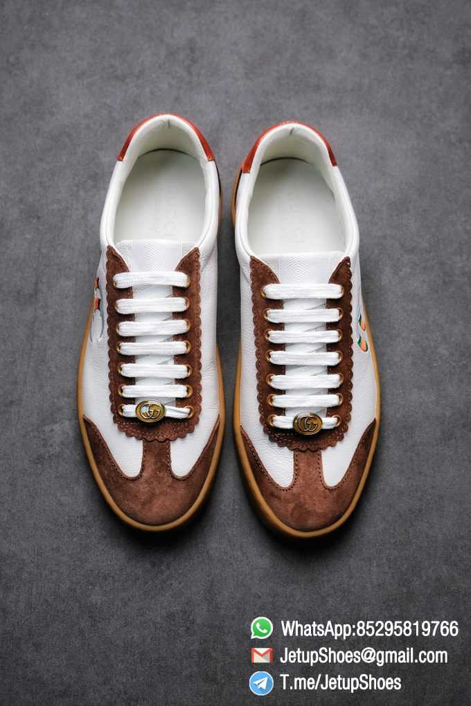 Gucci JBG Leather And Suede Sneaker Brown White Upper Lace Guard White Green Red Embroidered GG Rubber Sole 02