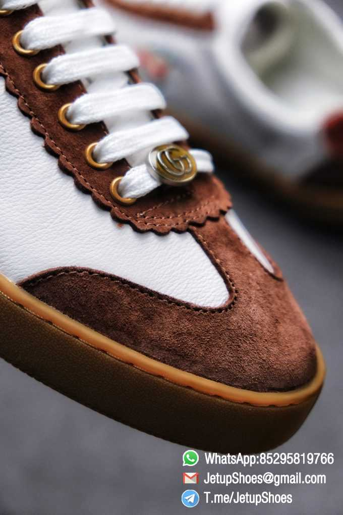 Gucci JBG Leather And Suede Sneaker Brown White Upper Lace Guard White Green Red Embroidered GG Rubber Sole 03