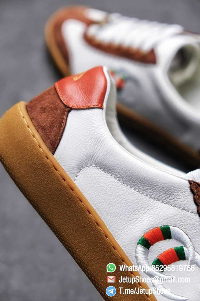 Gucci JBG Leather And Suede Sneaker Brown White Upper Lace Guard White Green Red Embroidered GG Rubber Sole 04