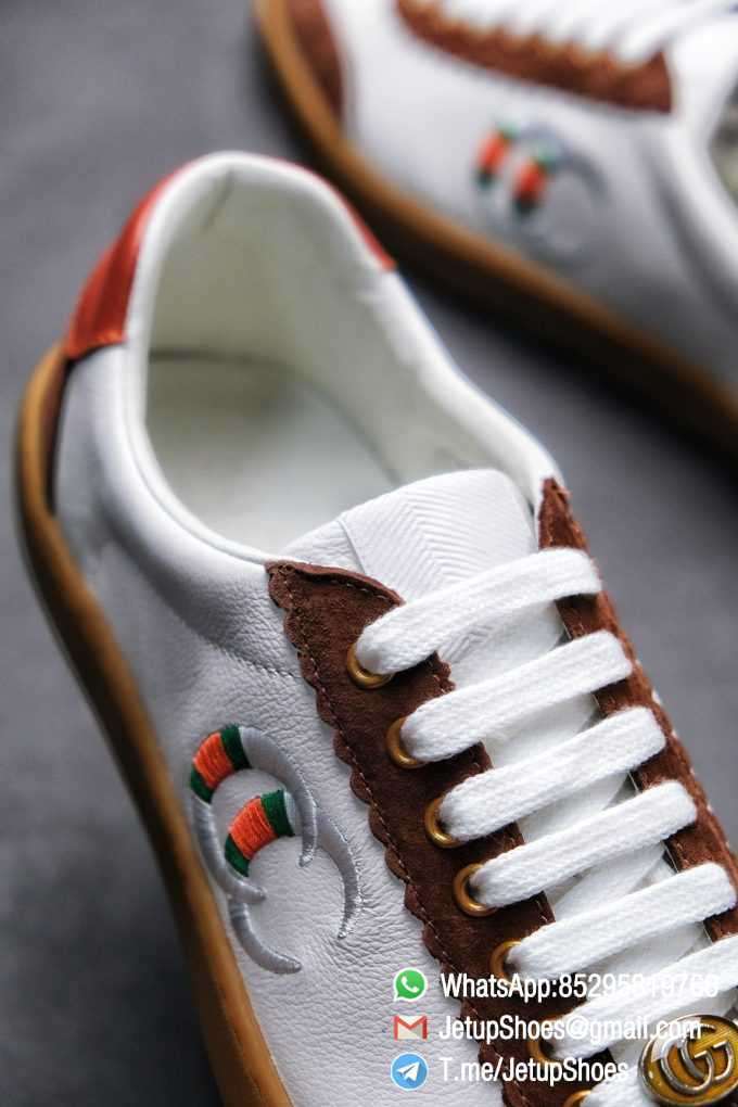 Gucci JBG Leather And Suede Sneaker Brown White Upper Lace Guard White Green Red Embroidered GG Rubber Sole 05