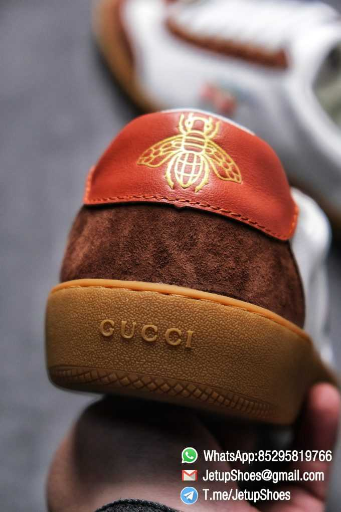 Gucci JBG Leather And Suede Sneaker Brown White Upper Lace Guard White Green Red Embroidered GG Rubber Sole 06
