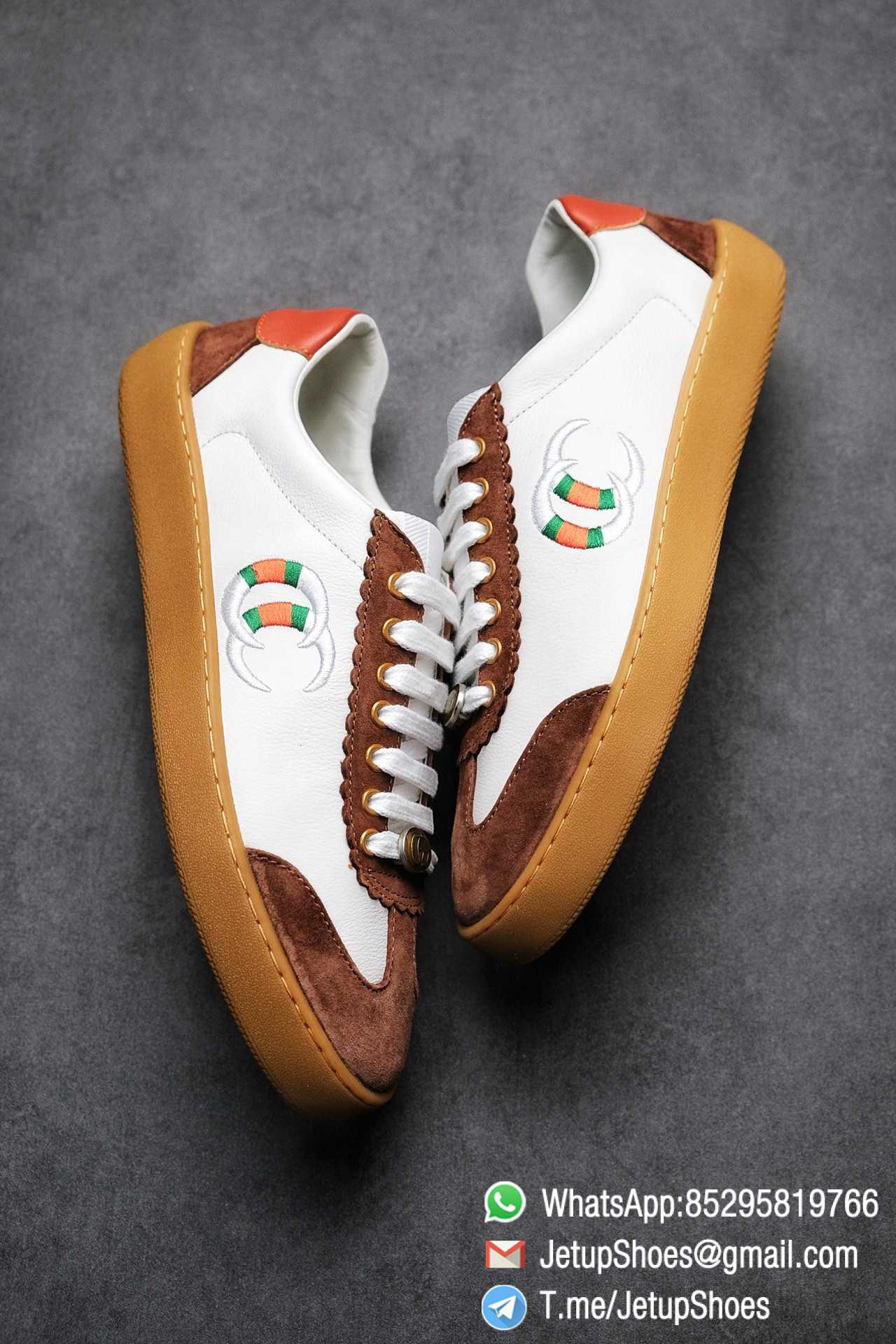 Gucci JBG Leather And Suede Sneaker Brown White Upper Lace Guard White Green Red Embroidered GG Rubber Sole 08