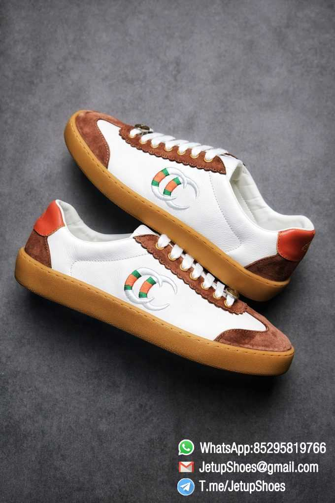 Gucci JBG Leather And Suede Sneaker Brown White Upper Lace Guard White Green Red Embroidered GG Rubber Sole 09