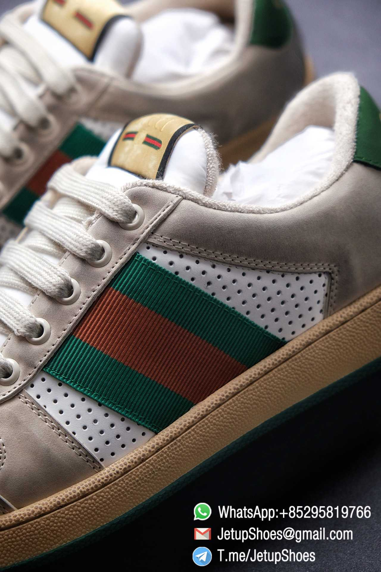 Gucci,Screener Leather Sneaker,Low-Top,Screener Leather Sneaker Low-Top Sneaker,Gucci Vintage Green and Orange Effect Sneakers