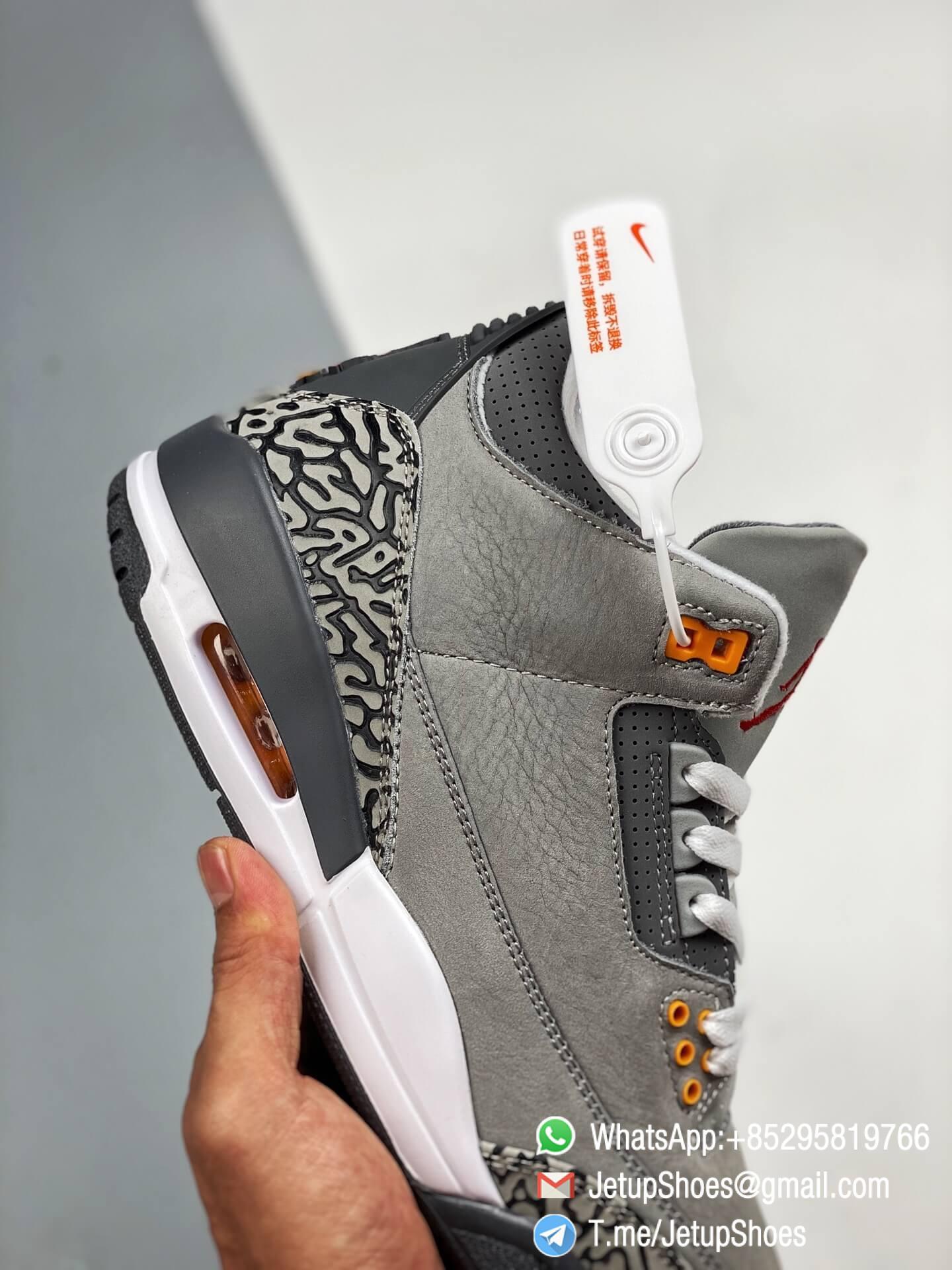 RepSneakers Air Jordan 3 Retro Cool Grey SKU CT8532 012 Grey Leather Upper Best Replica Sneakers 04