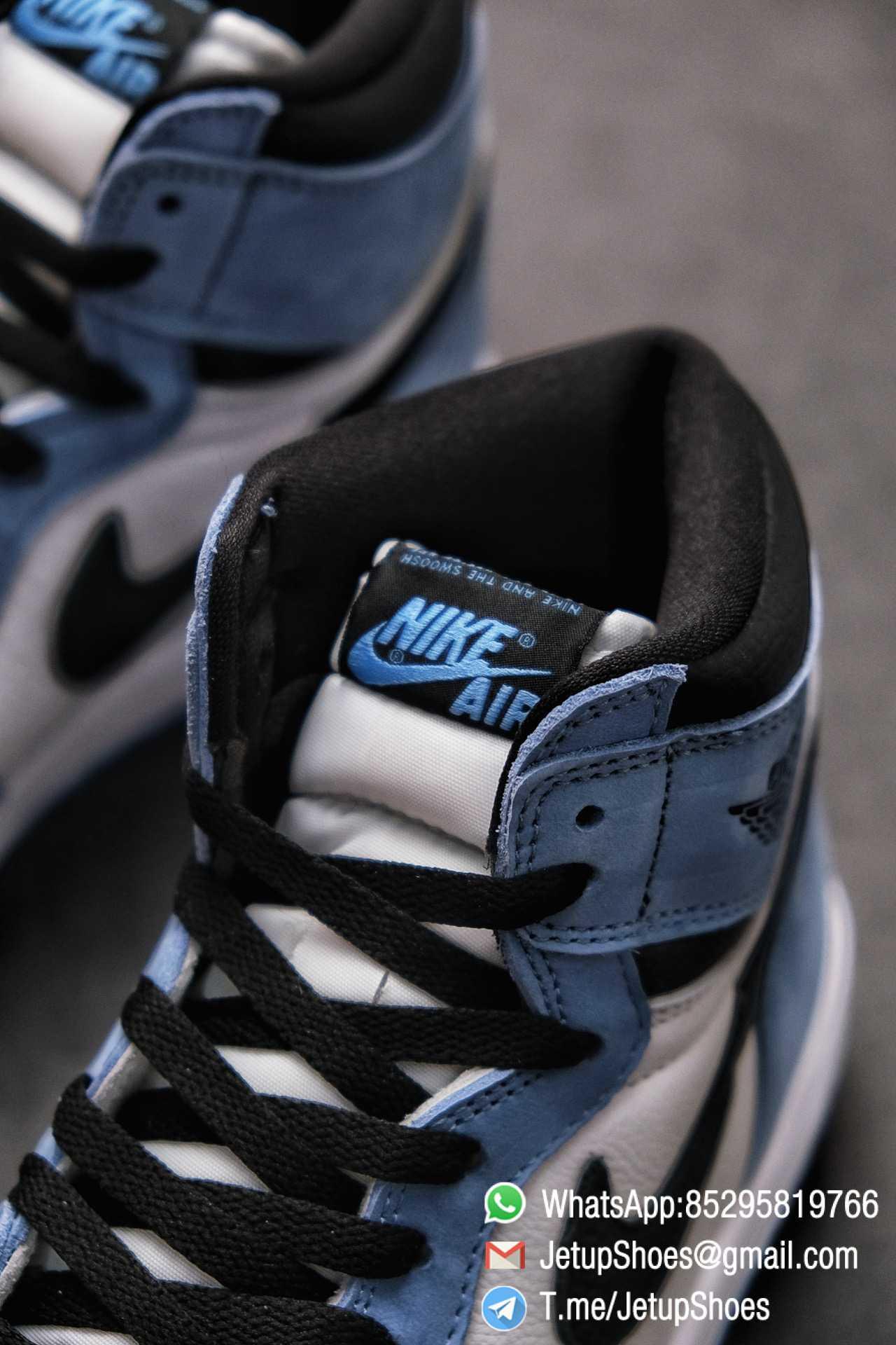 Replica Snkrs Air Jordan 1 Retro High OG University Blue Leather White Upper Blue Overlays Black Signature Swoosh SKU 555088 134 014