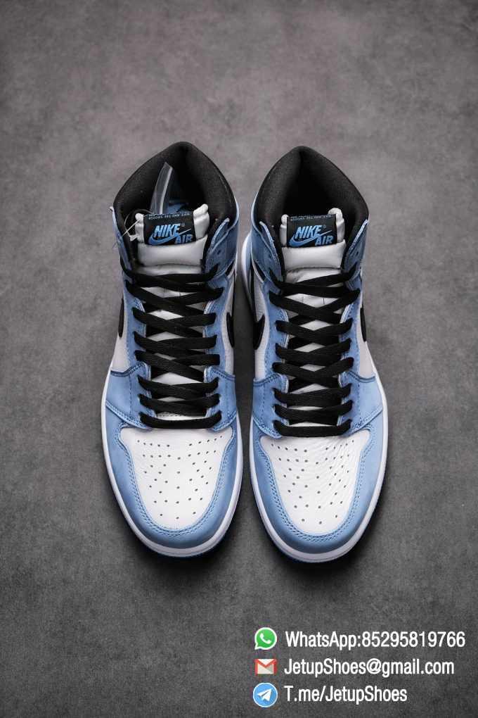 Replica Snkrs Air Jordan 1 Retro High OG University Blue Leather White Upper Blue Overlays Black Signature Swoosh SKU 555088 134 03