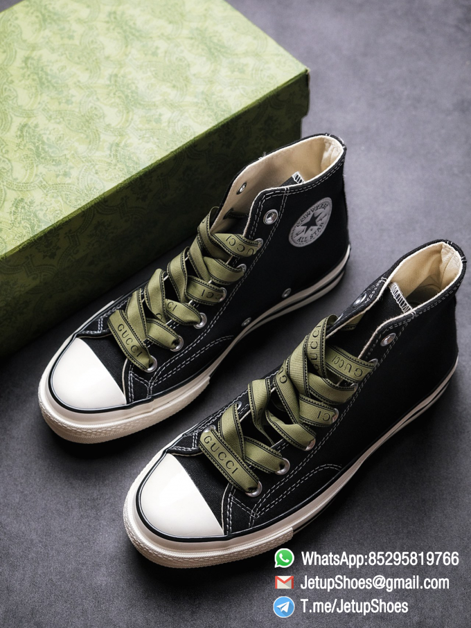 Womens Converse x Gucci Tennis 1970S High Top Sneaker Vintage Inspired Green Shoelace Black 2021 Spring 00