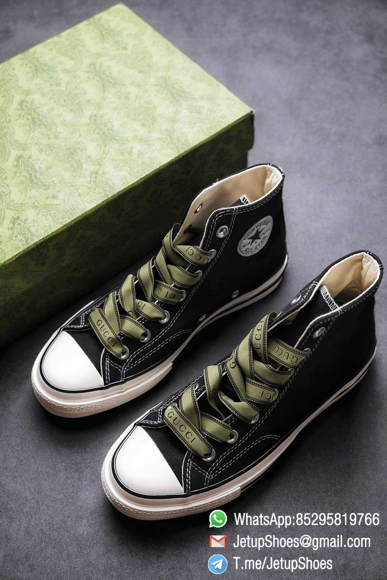 Womens Converse x Gucci Tennis 1970S High Top Sneaker Vintage Inspired Green Shoelace Black 2021 Spring 01