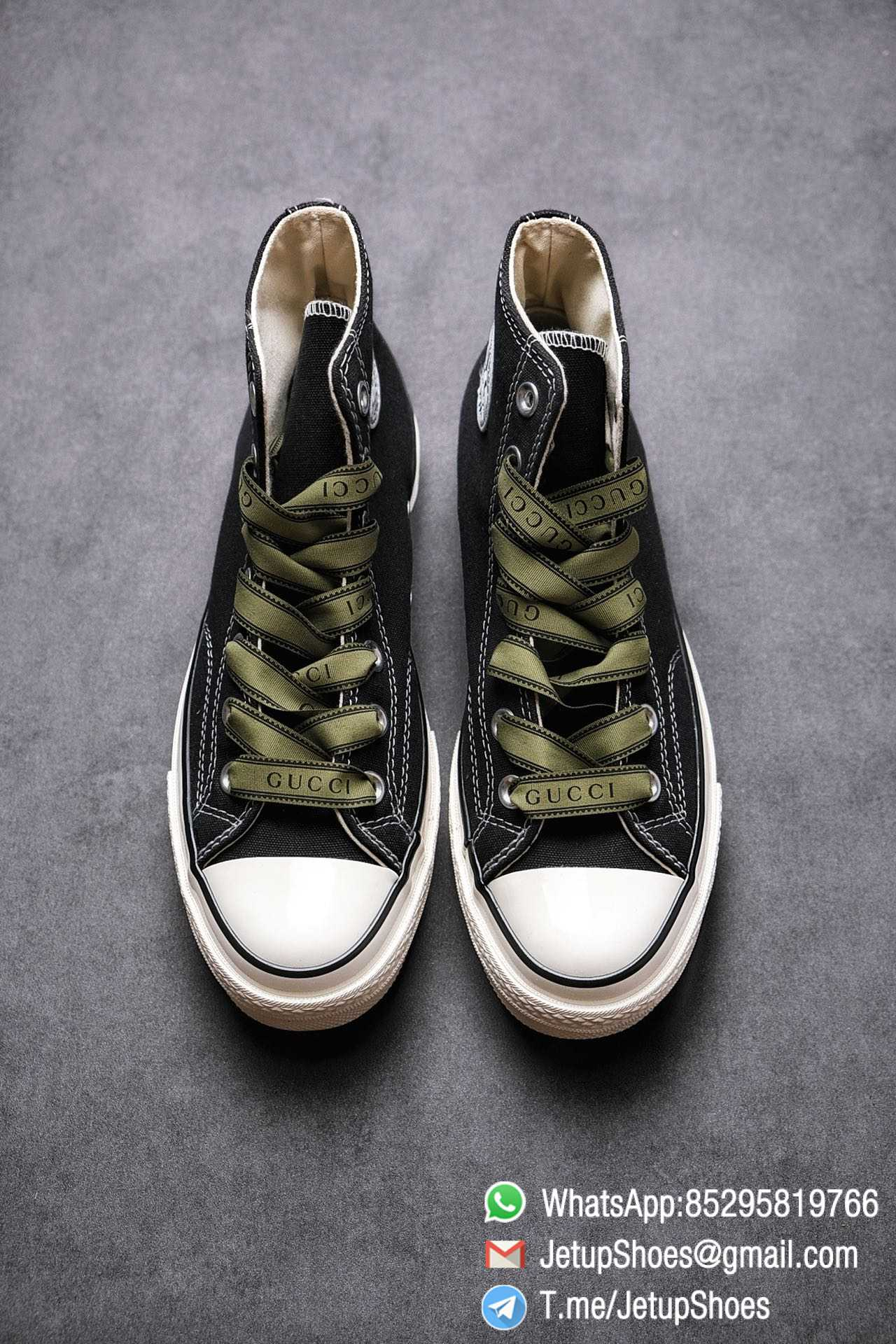 Womens Converse x Gucci Tennis 1970S High Top Sneaker Vintage Inspired Green Shoelace Black 2021 Spring 02