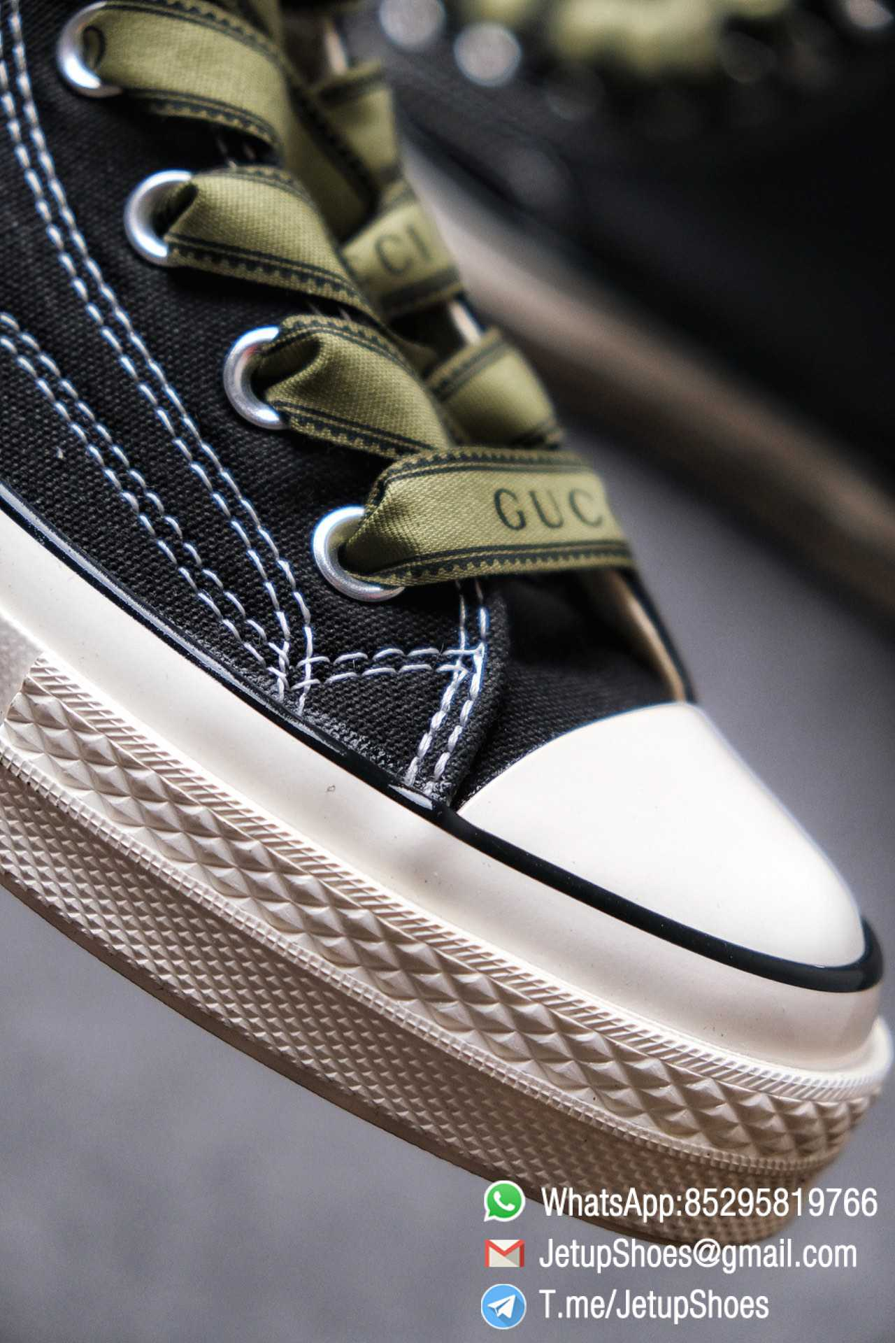 Womens Converse x Gucci Tennis 1970S High Top Sneaker Vintage Inspired Green Shoelace Black 2021 Spring 03