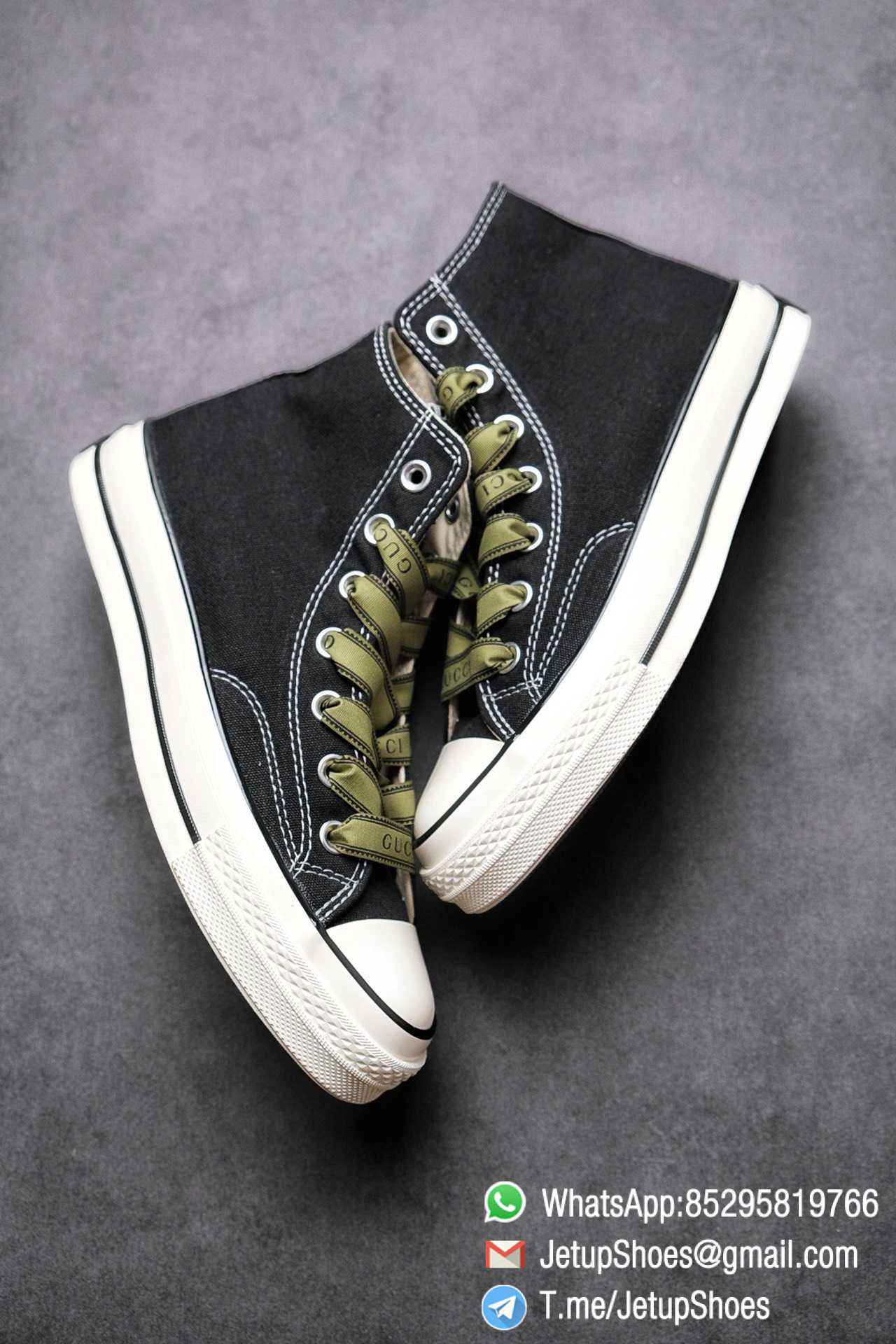 Womens Converse x Gucci Tennis 1970S High Top Sneaker Vintage Inspired Green Shoelace Black 2021 Spring 08