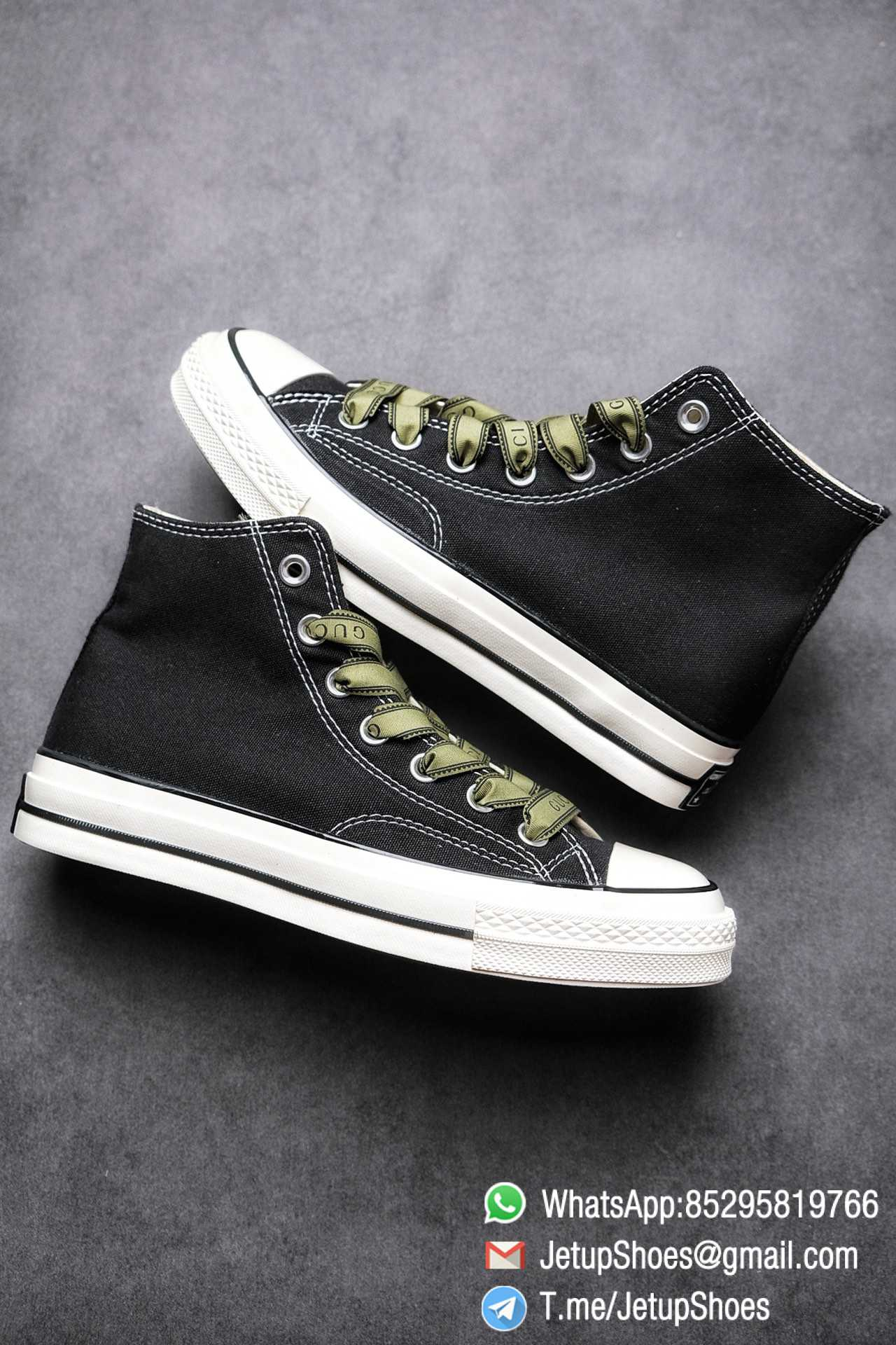 Womens Converse x Gucci Tennis 1970S High Top Sneaker Vintage Inspired Green Shoelace Black 2021 Spring 09