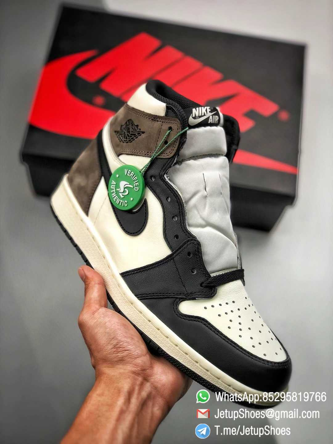 Best Replica Air Jordan 1 Retro High OG Dark Mocha Off white Leather Base and Black Overylays Top Quality Sneakers 01