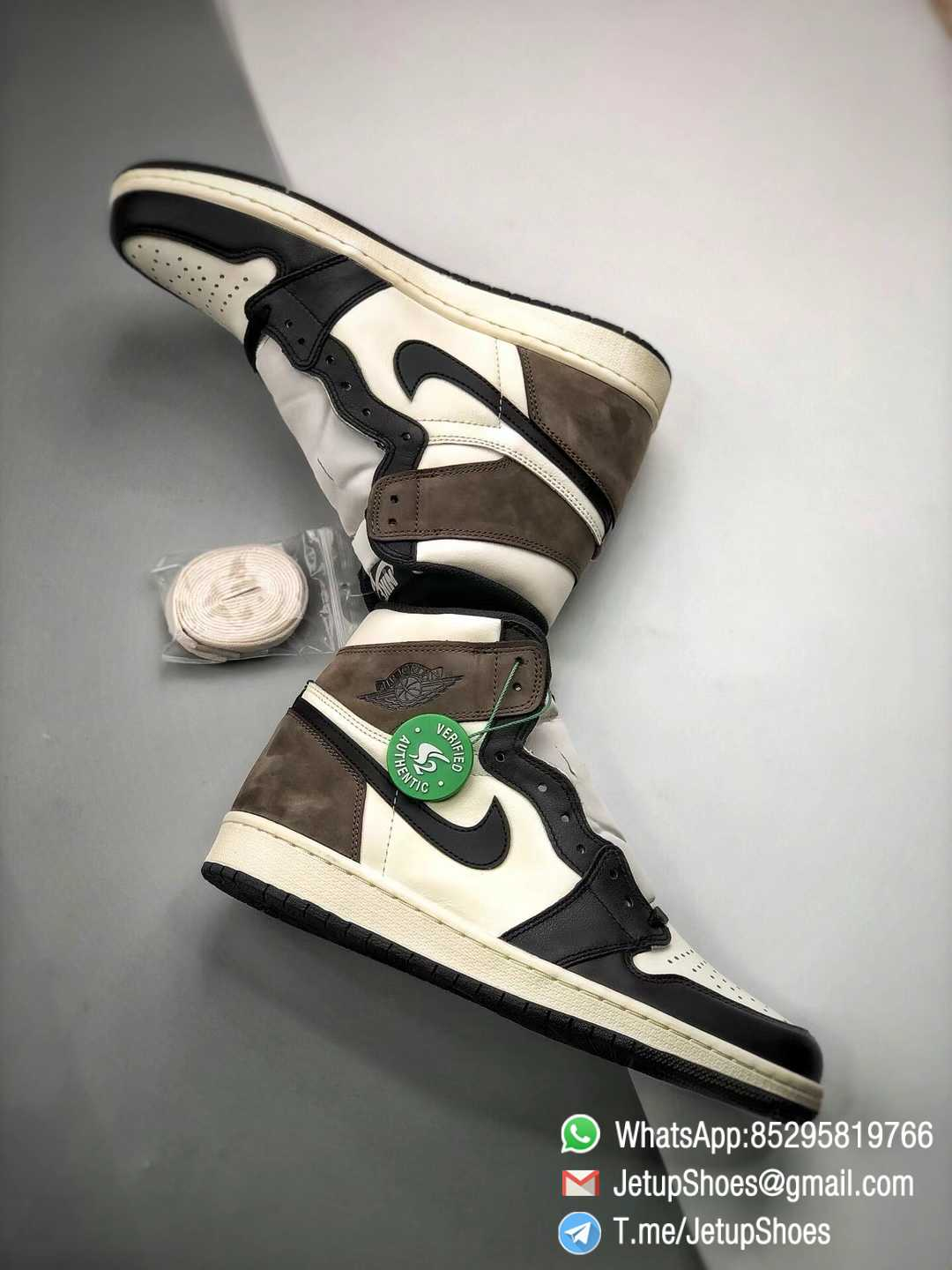 Best Replica Air Jordan 1 Retro High OG Dark Mocha Off white Leather Base and Black Overylays Top Quality Sneakers 011
