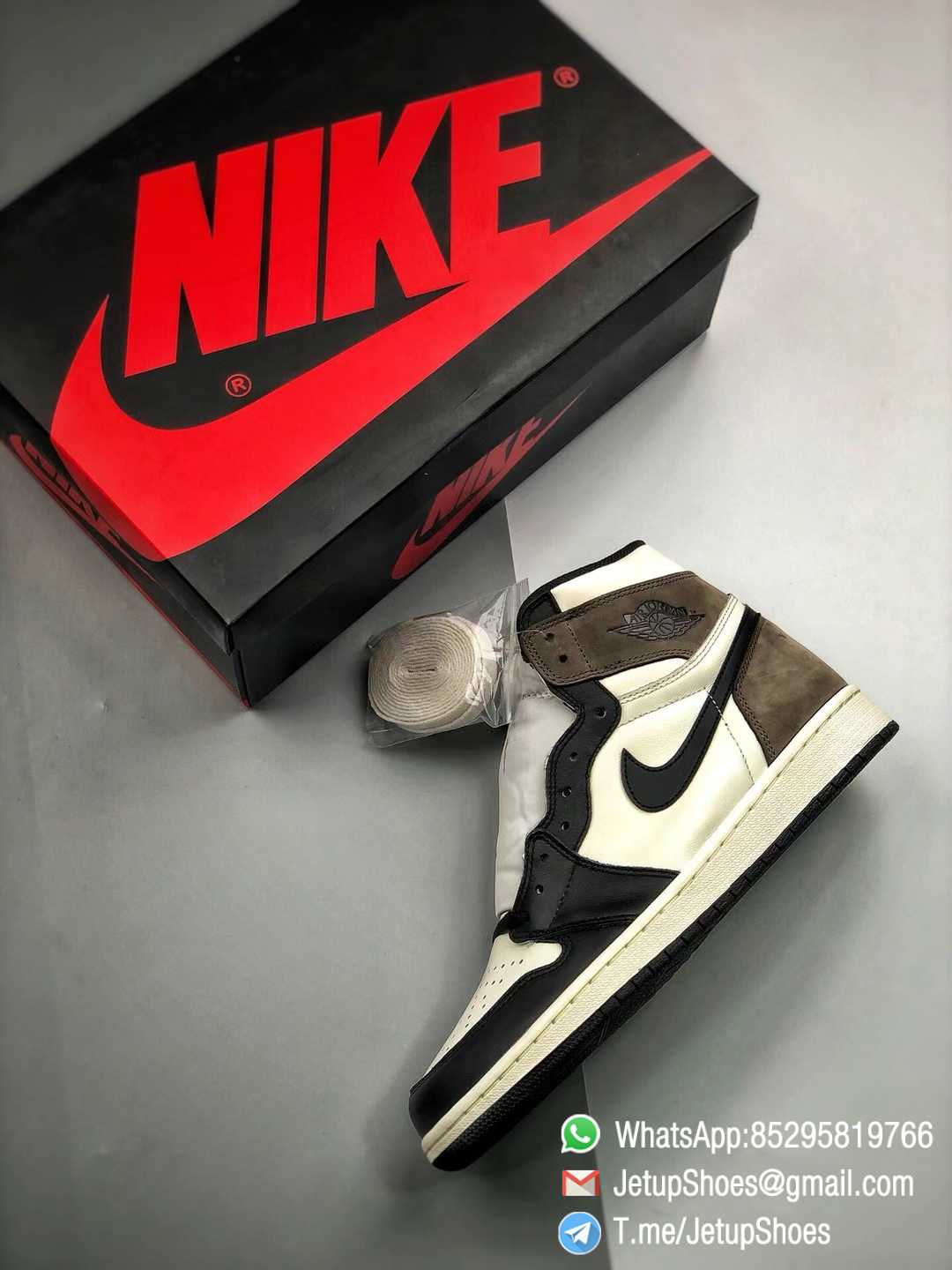 Best Replica Air Jordan 1 Retro High OG Dark Mocha Off white Leather Base and Black Overylays Top Quality Sneakers 012
