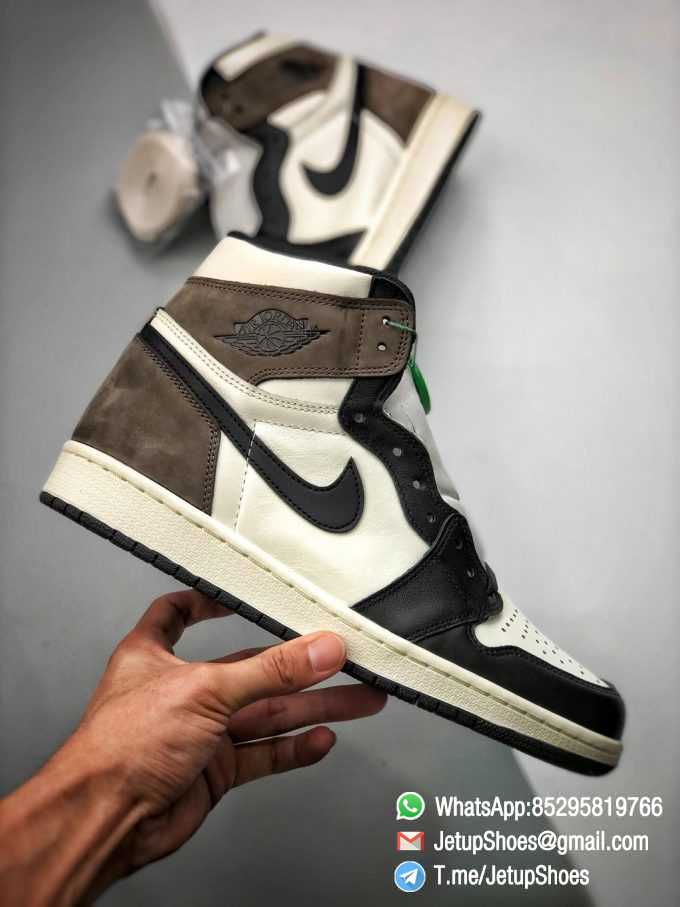 Best Replica Air Jordan 1 Retro High OG Dark Mocha Off white Leather Base and Black Overylays Top Quality Sneakers 03