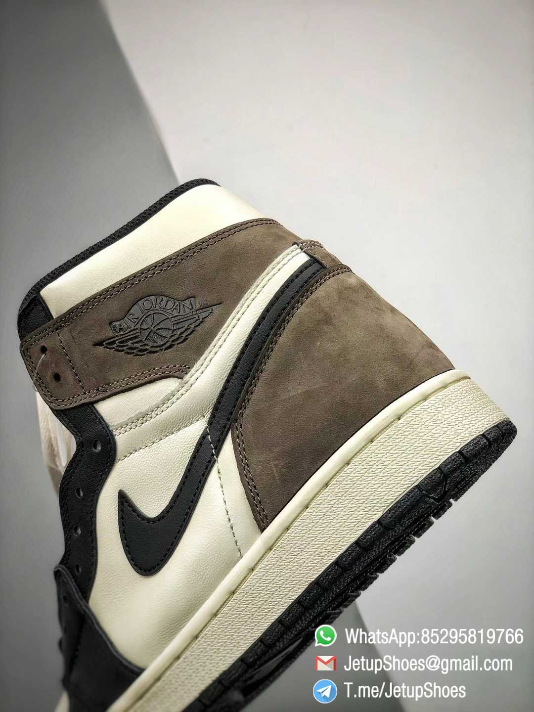 Best Replica Air Jordan 1 Retro High OG Dark Mocha Off white Leather Base and Black Overylays Top Quality Sneakers 04