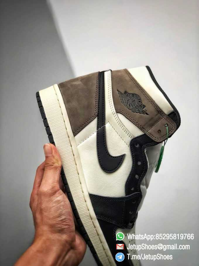 Best Replica Air Jordan 1 Retro High OG Dark Mocha Off white Leather Base and Black Overylays Top Quality Sneakers 05