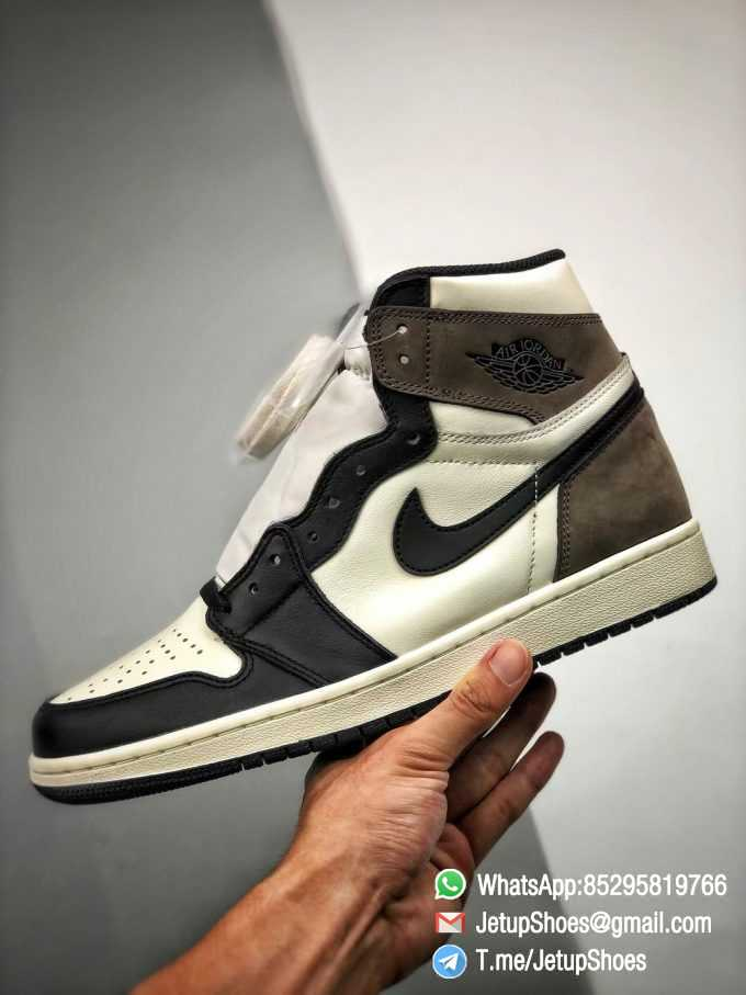 Best Replica Air Jordan 1 Retro High OG Dark Mocha Off white Leather Base and Black Overylays Top Quality Sneakers 06