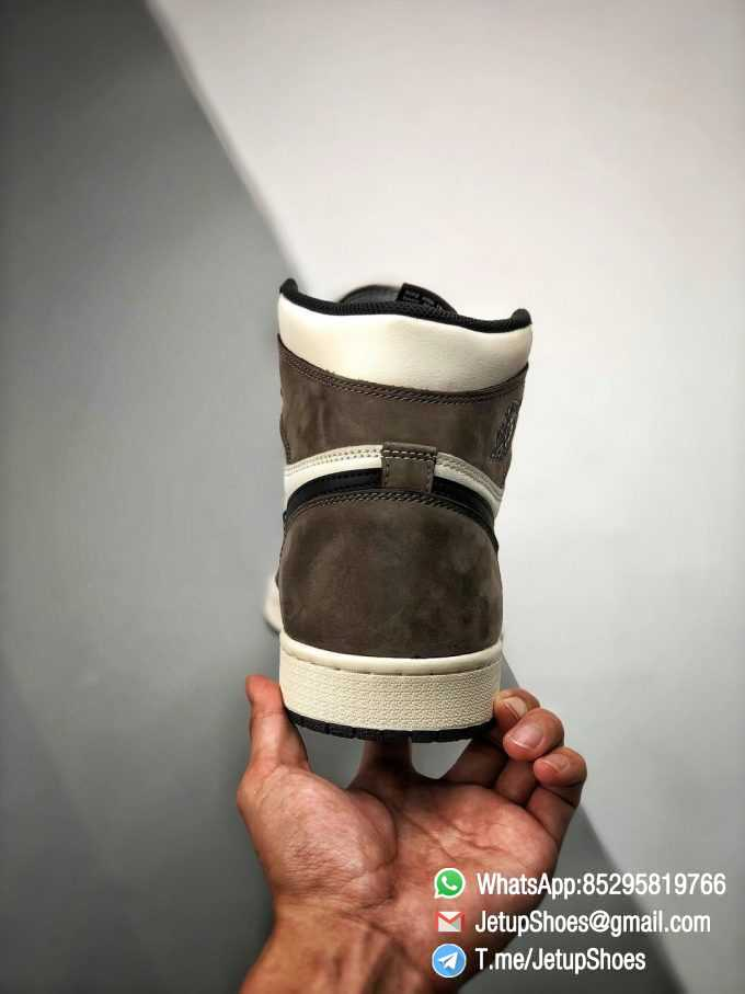 Best Replica Air Jordan 1 Retro High OG Dark Mocha Off white Leather Base and Black Overylays Top Quality Sneakers 09
