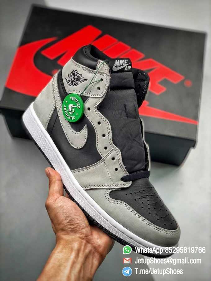 Best Replica Air Jordan 1 Retro High OG Shadow 2.0 Black Leather Upper Grey Suede Overlays RepSnkrs 01