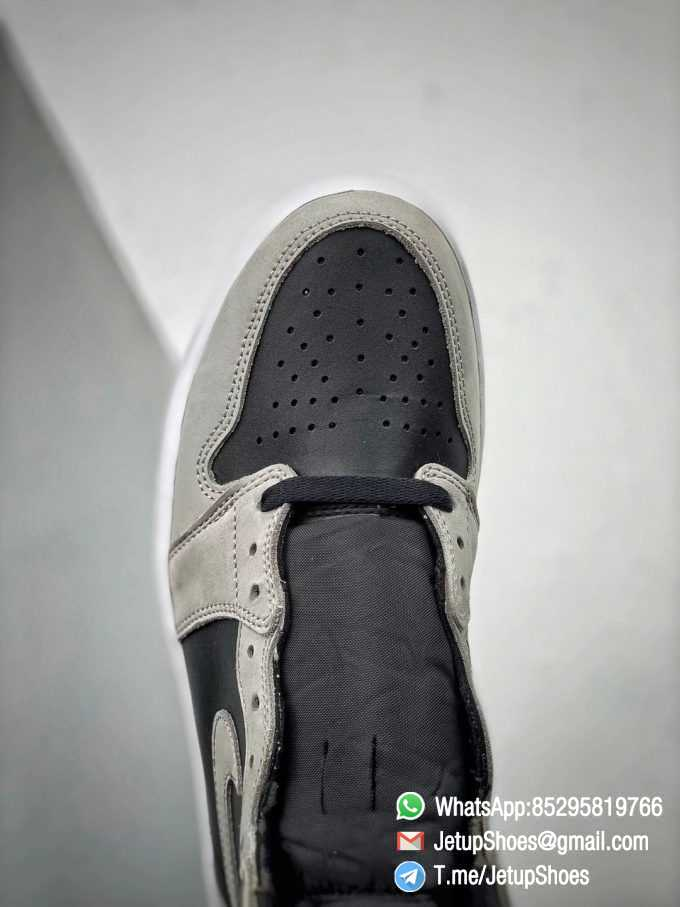 Best Replica Air Jordan 1 Retro High OG Shadow 2.0 Black Leather Upper Grey Suede Overlays RepSnkrs 011