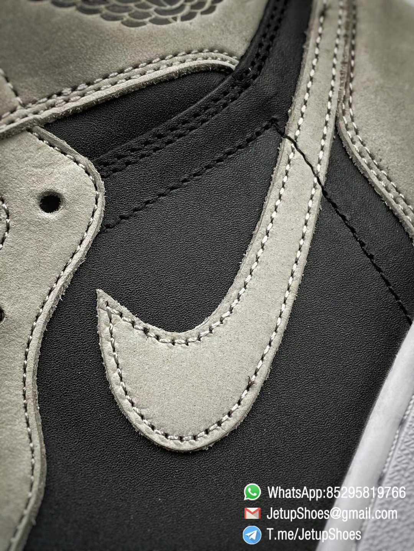 Best Replica Air Jordan 1 Retro High OG Shadow 2.0 Black Leather Upper Grey Suede Overlays RepSnkrs 012
