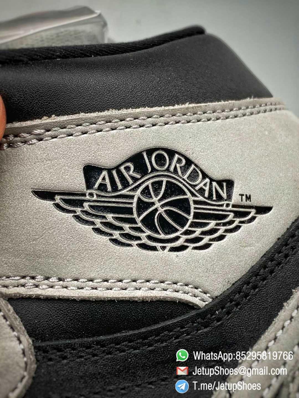 Best Replica Air Jordan 1 Retro High OG Shadow 2.0 Black Leather Upper Grey Suede Overlays RepSnkrs 013