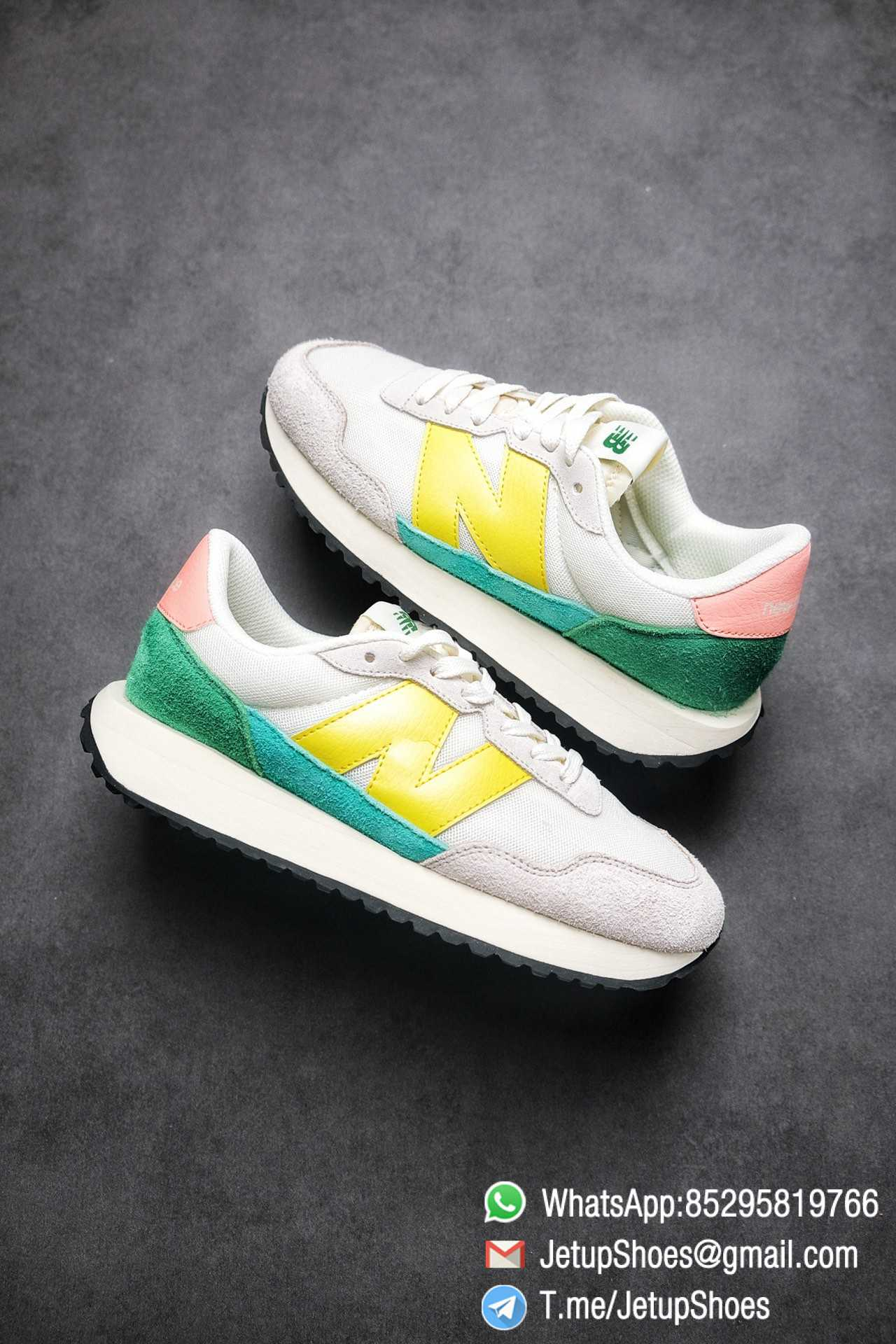 Best Replica New Balance 237 Light Grey Yellow Green Pink Multi Color SKU MS237AS1 High Quality Running Shoes 01