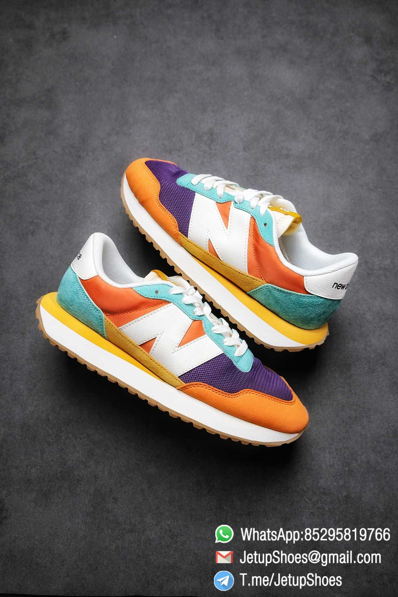 Best Replica New Balance 237 Yellow Blue Orange Suede Purple Mesh Stitching SKU MS237LB2 High Quality Fake Multi Color Running Shoes 01
