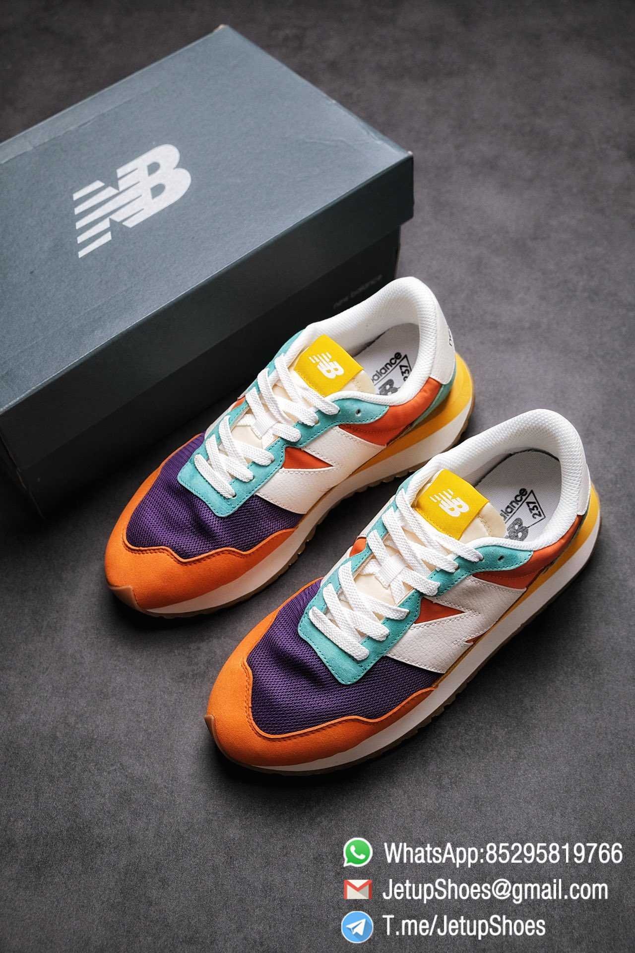 Best Replica New Balance 237 Yellow Blue Orange Suede Purple Mesh Stitching SKU MS237LB2 High Quality Fake Multi Color Running Shoes 04