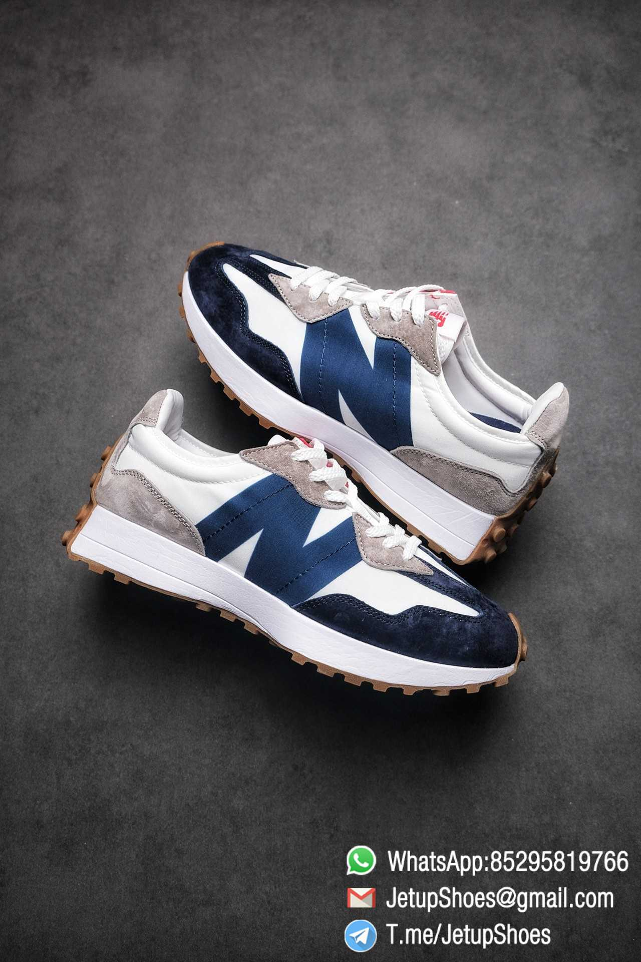 Best Replica New Balance 327 Navy White Gum Running Shoes SKU MS327WR Top Quality Snkrs 01