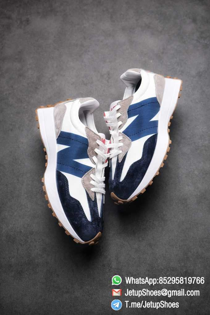 Best Replica New Balance 327 Navy White Gum Running Shoes SKU MS327WR Top Quality Snkrs 03