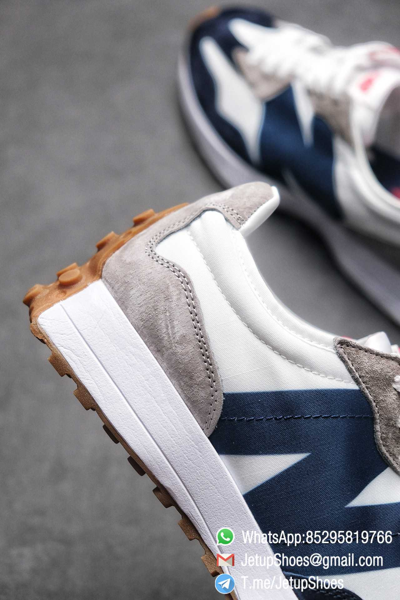 Best Replica New Balance 327 Navy White Gum Running Shoes SKU MS327WR Top Quality Snkrs 06