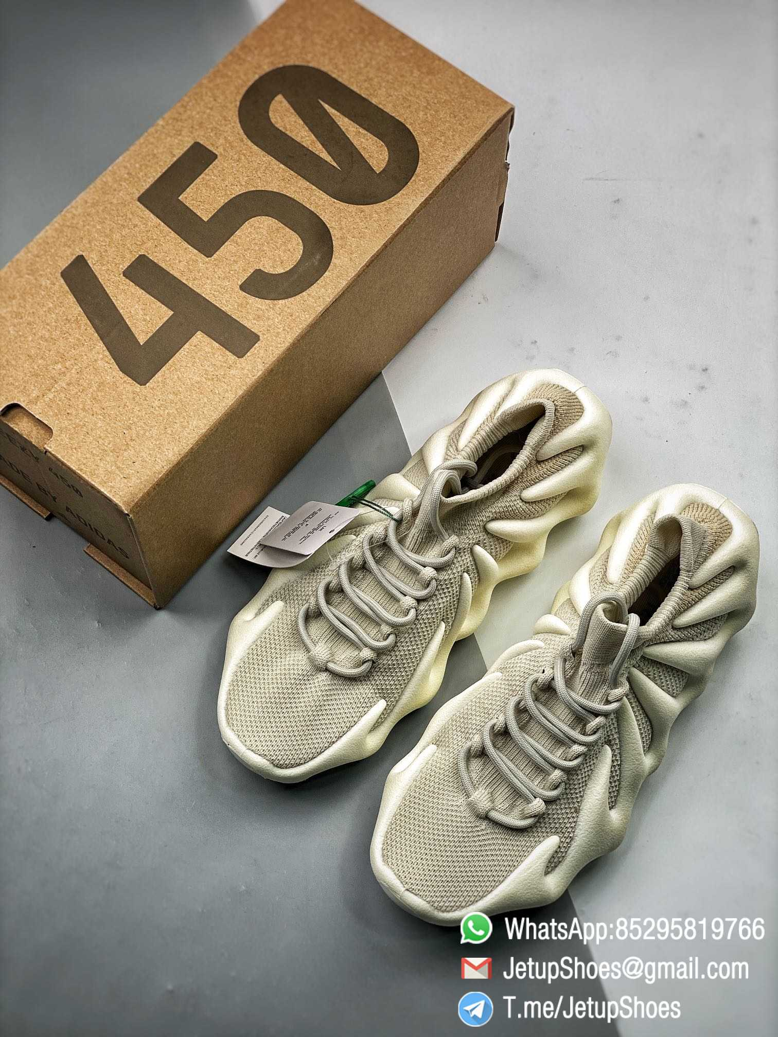 Best Replica adidas Yeezy 450 Cloud White Sneakers S2 Pure RepSneakers Top Quality Snkrs 09
