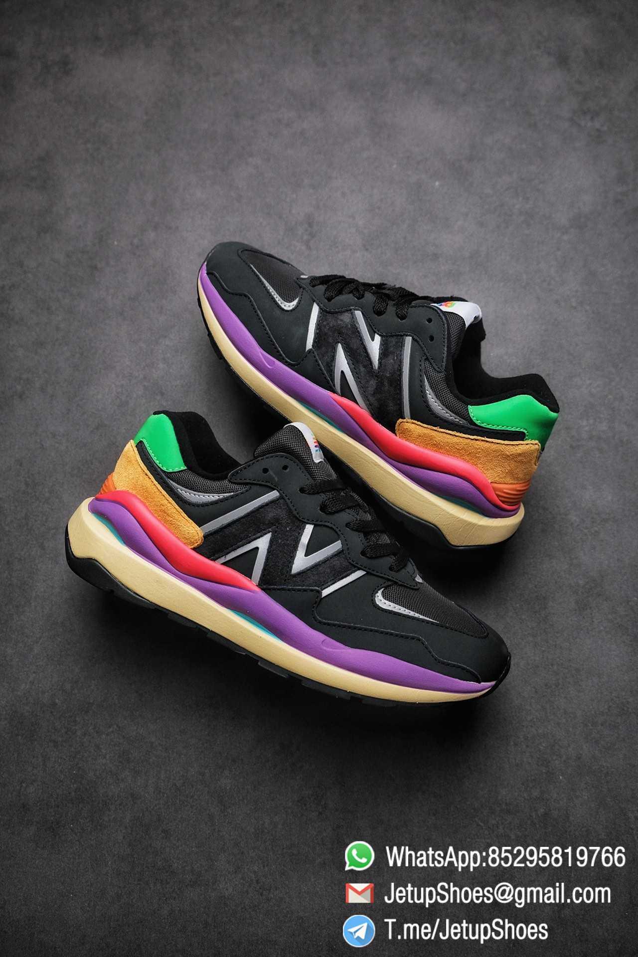 New Balance 5740 Black Multicolor Running Sneakers M5740LB Black Mesh Upper Oriange Suede Oversized N 01