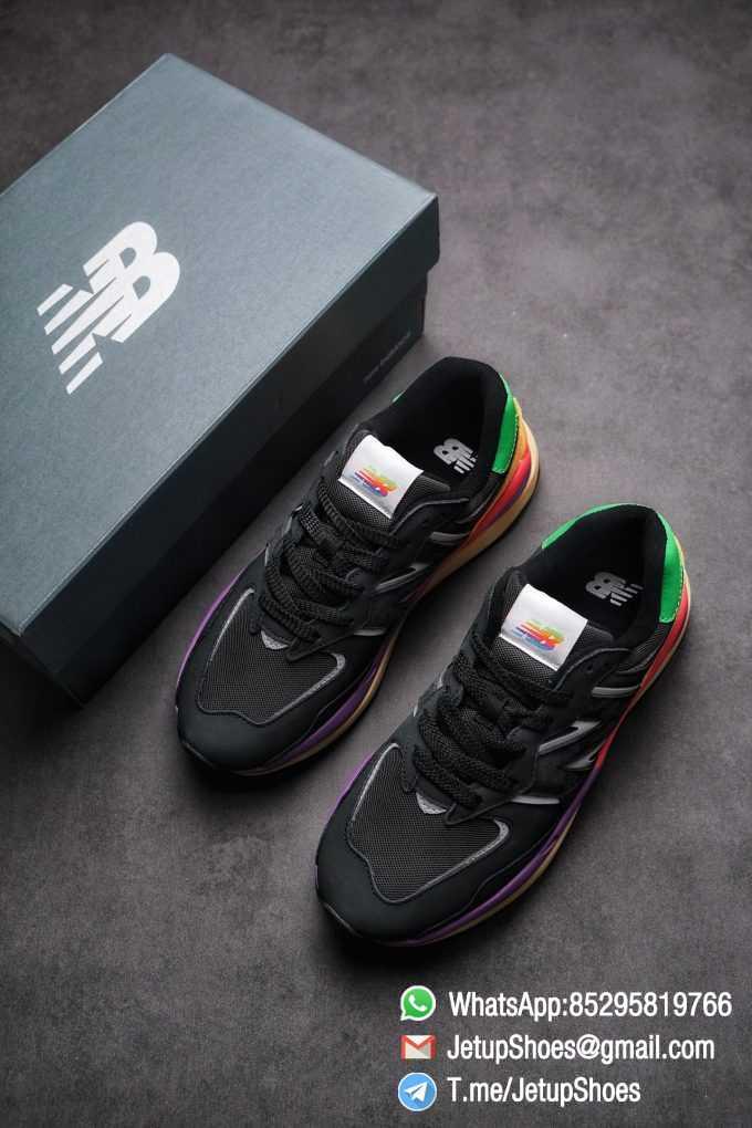 New Balance 5740 Black Multicolor Running Sneakers M5740LB Black Mesh Upper Oriange Suede Oversized N 03