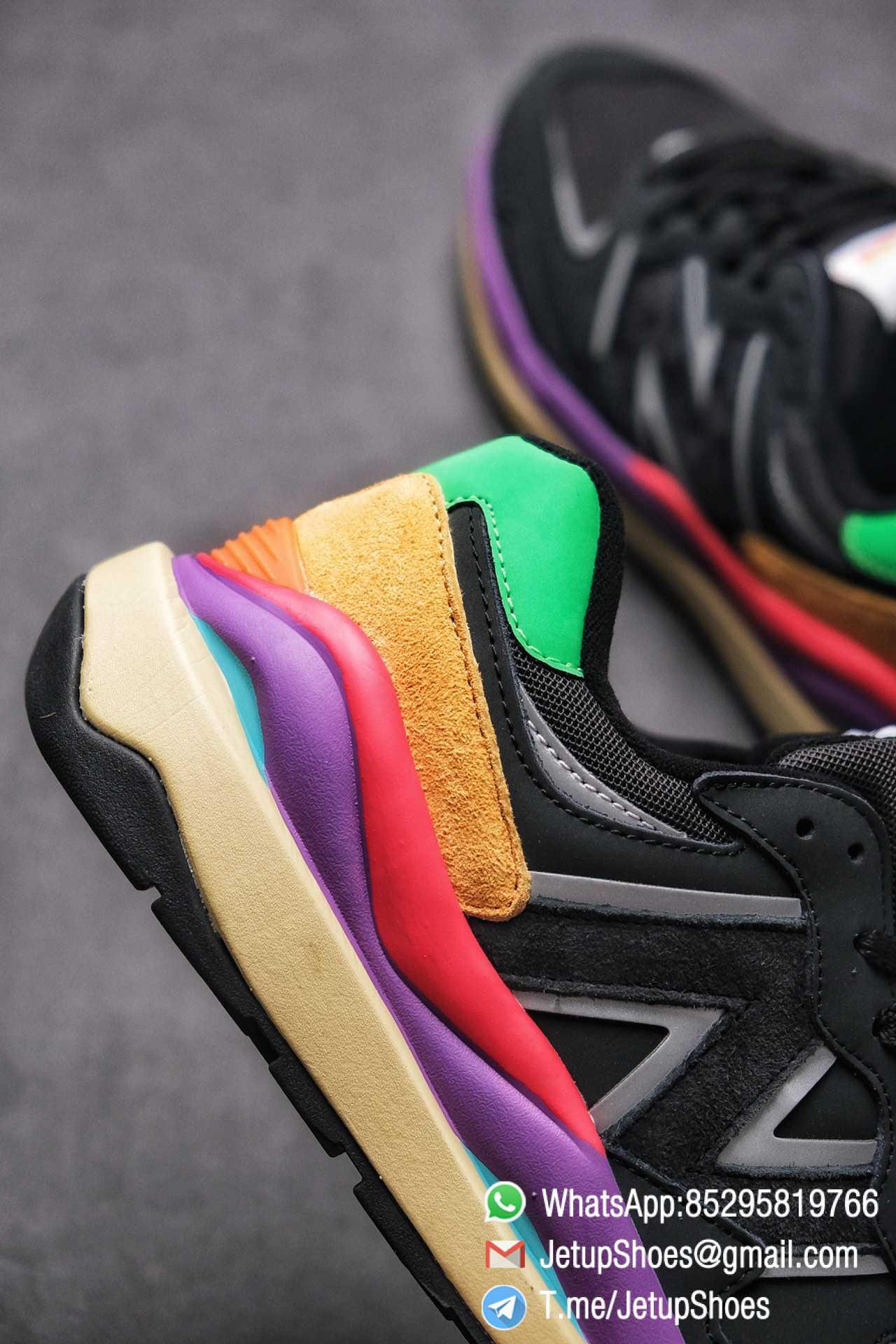 New Balance 5740 Black Multicolor Running Sneakers M5740LB Black Mesh Upper Oriange Suede Oversized N 07
