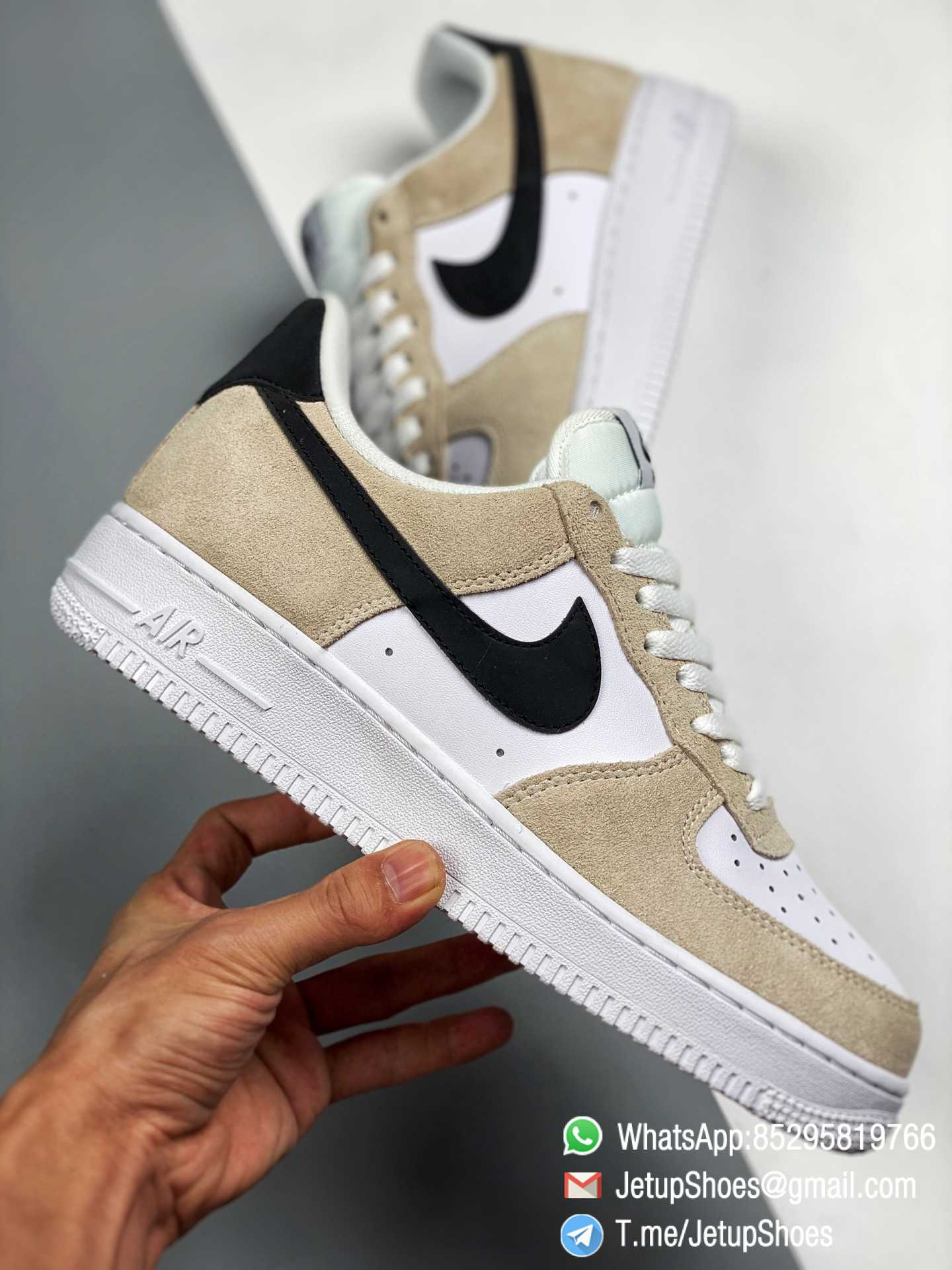 RepSneakers Wmns Air Force 1 Low Pixel Desert Sand Mixed Leather and Cream Suede Base Best Replica Sneakers 0