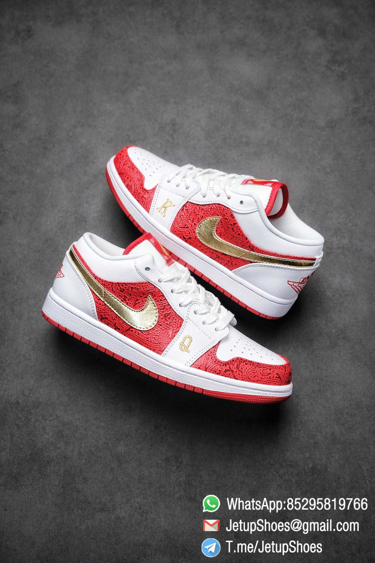 RepSnkrs Air Jordan 1 Low SE 'Spades' White Leather Base Red Rubber Outsole Embroidered letters 'K' & 'Q' Best Replica Sneakers