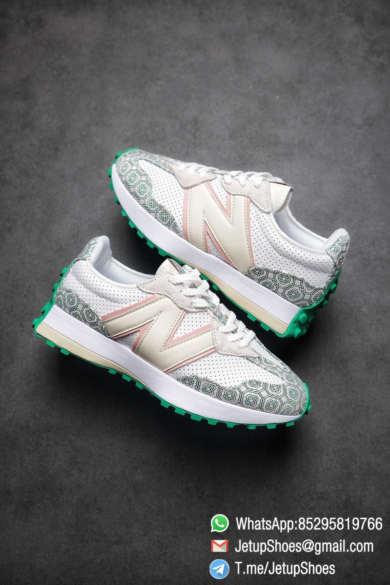Replica Sneakers New Balance 327 Casablanca x 327 Munsell White Green Retro Running Shoes SKU MS327CAB Best RepSneakers 01
