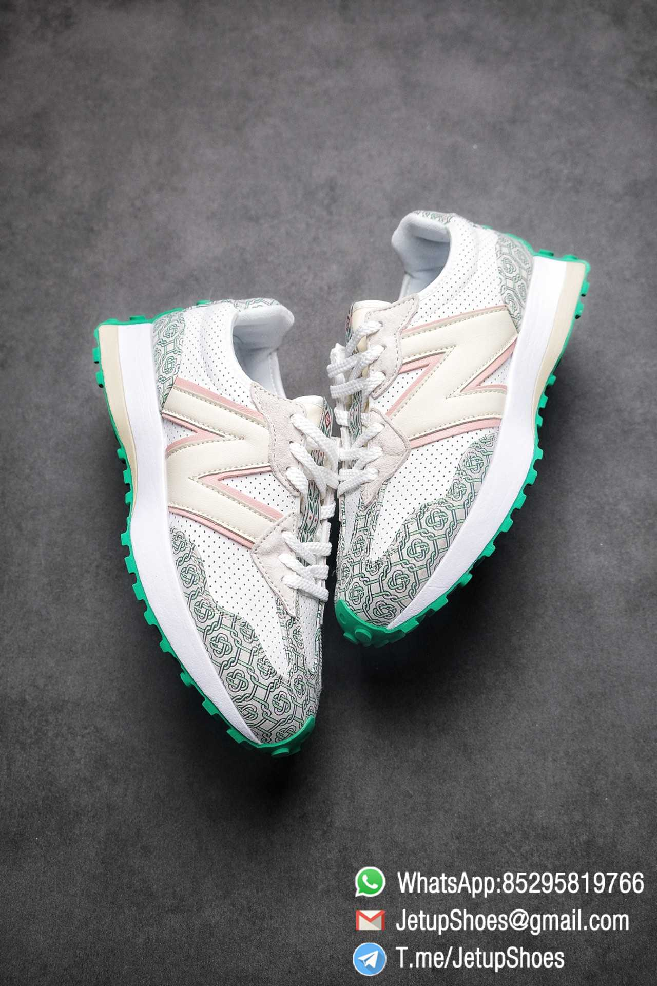 Replica Sneakers New Balance 327 Casablanca x 327 Munsell White Green Retro Running Shoes SKU MS327CAB Best RepSneakers 03