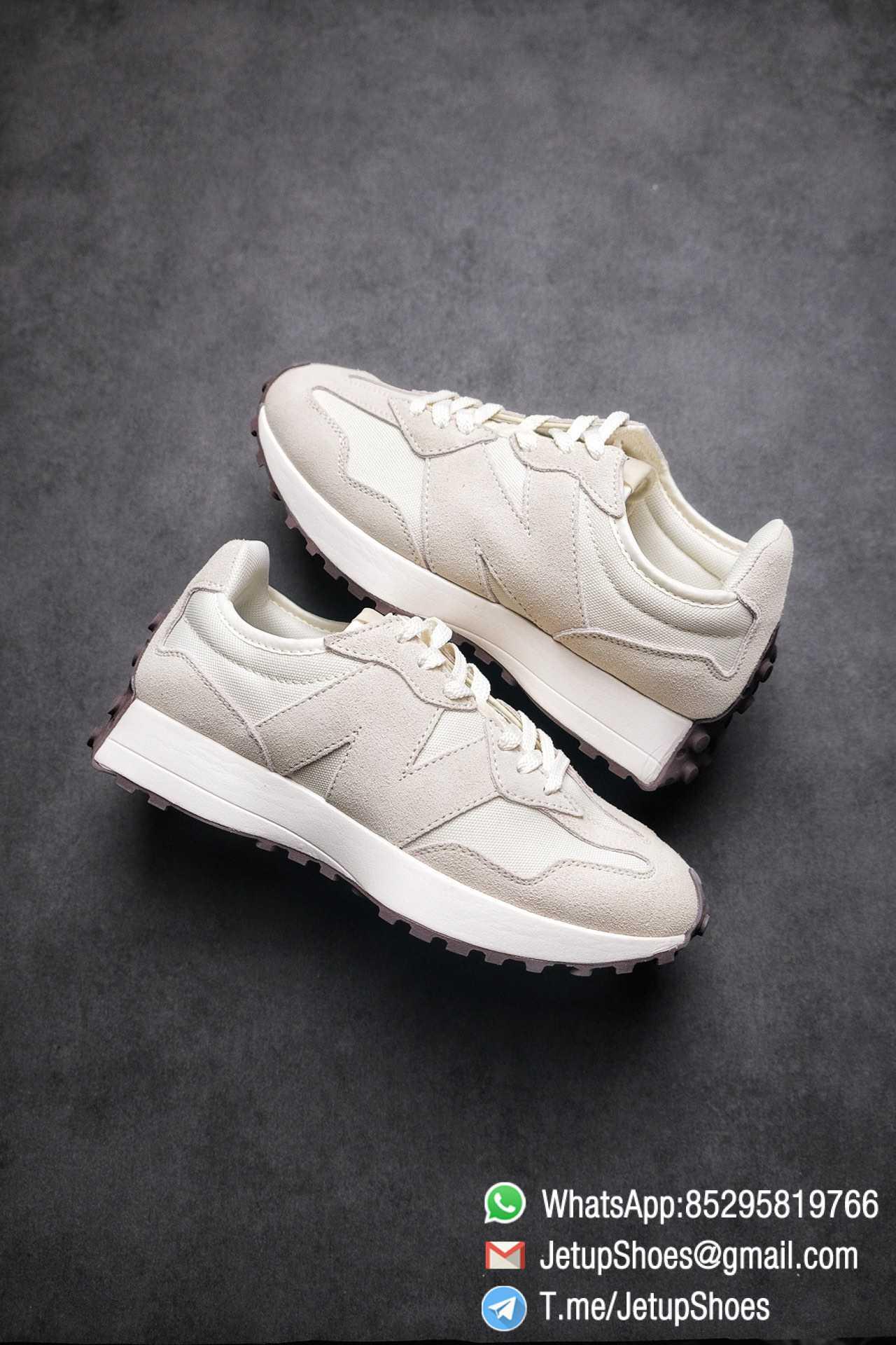 Replica Sneakers New Balance 327 Noritake x 327 Light Grey White Mesh Quarter Suede Upper Retro Running Shoes SKU WS327FB 01