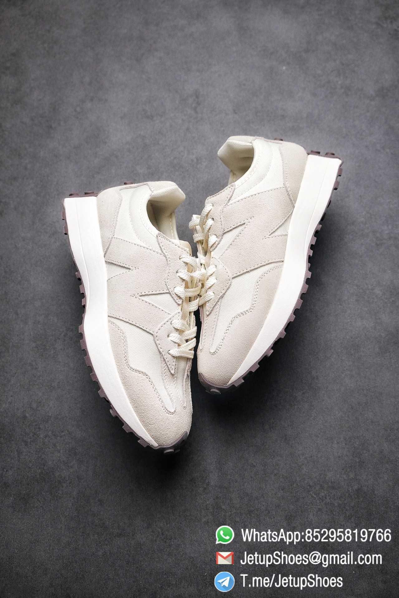 Replica Sneakers New Balance 327 Noritake x 327 Light Grey White Mesh Quarter Suede Upper Retro Running Shoes SKU WS327FB 03