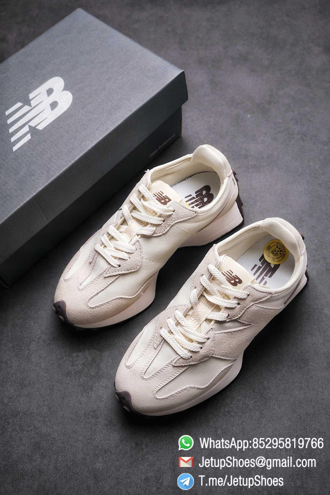 Replica Sneakers New Balance 327 Noritake x 327 Light Grey White Mesh Quarter Suede Upper Retro Running Shoes SKU WS327FB 04