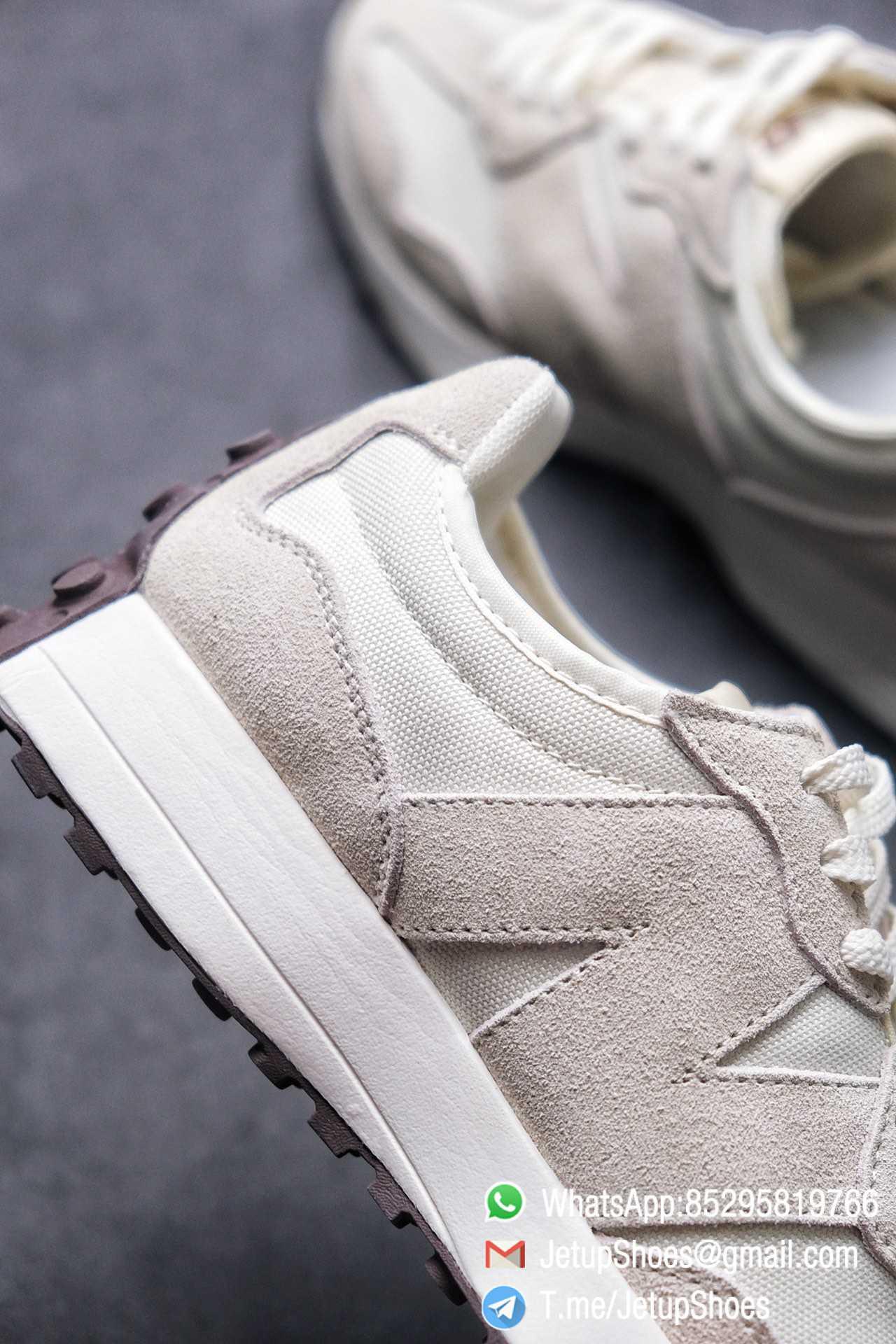 Replica Sneakers New Balance 327 Noritake x 327 Light Grey White Mesh Quarter Suede Upper Retro Running Shoes SKU WS327FB 06
