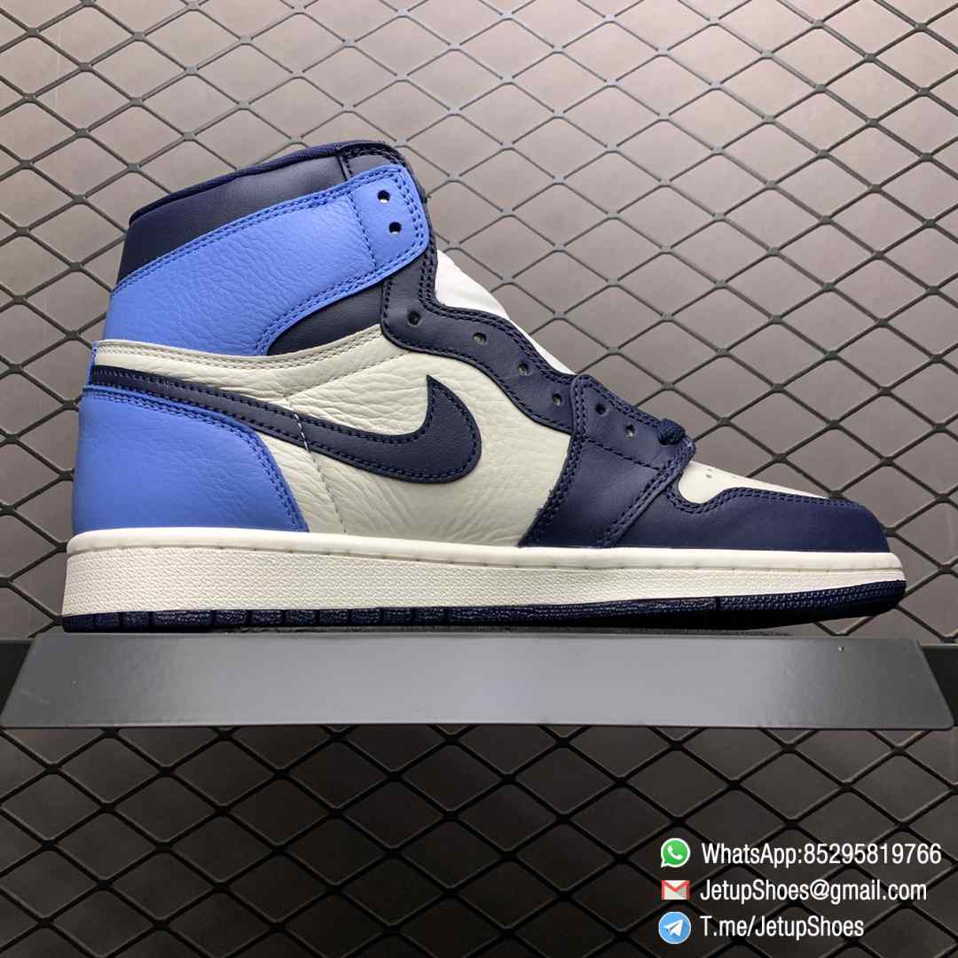 Air Jordan 1 Retro High OG Obsidian UNC SKU 555088 140 Color block Palette leather upper Best Replica Snkrs 02