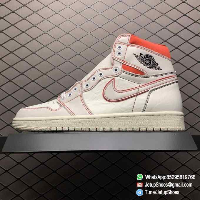 Best Fake Air Jordan 1 Retro High OG Phantom Gym Red Stitching in Black and Red High top Clean Lines Off White Sail Finishing 01