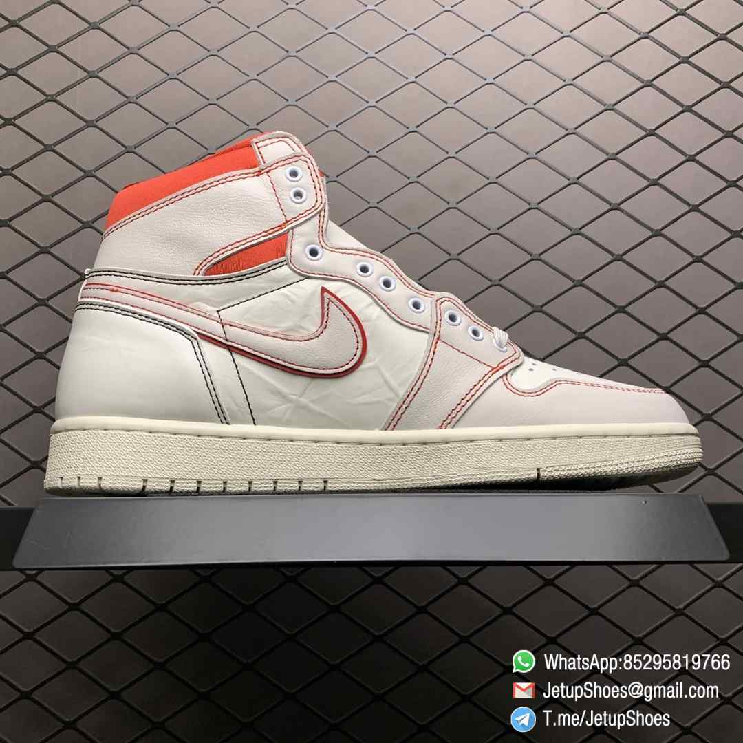 Best Fake Air Jordan 1 Retro High OG Phantom Gym Red Stitching in Black and Red High top Clean Lines Off White Sail Finishing 02